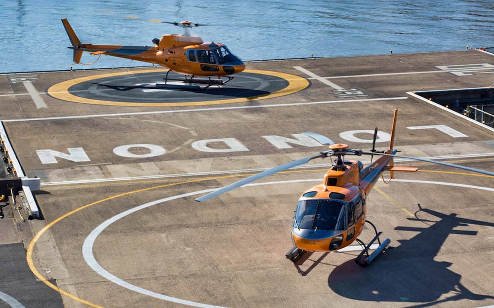 London Helicopter Tour - Helicopters on a helipad