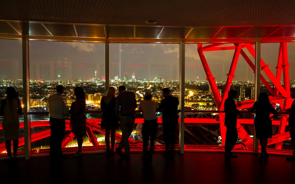 Orbit slide London - The view from the Orbit Tower at night