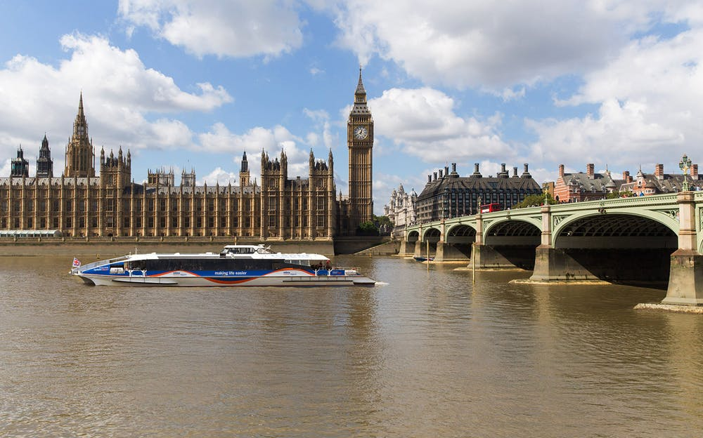 Thames River Bus - The Houses of Parliament and Big Ben, viewed from the River