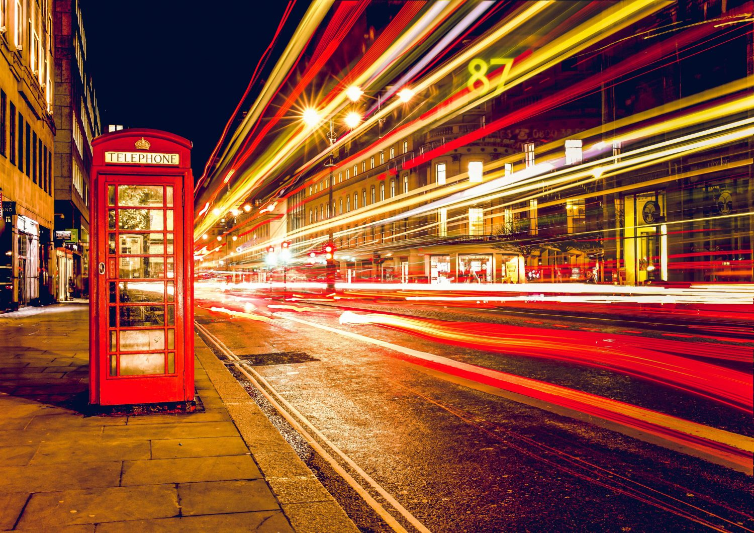 2 Day London Pass - A red telephone box at night in London