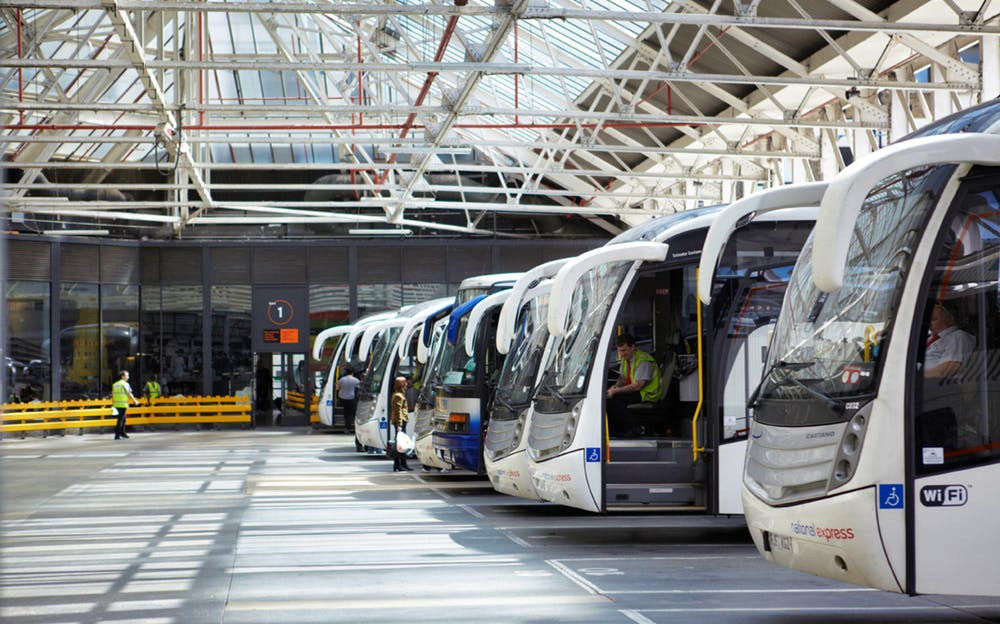 Stansted to Victoria - The fleet of buses at Victoria Coach Station