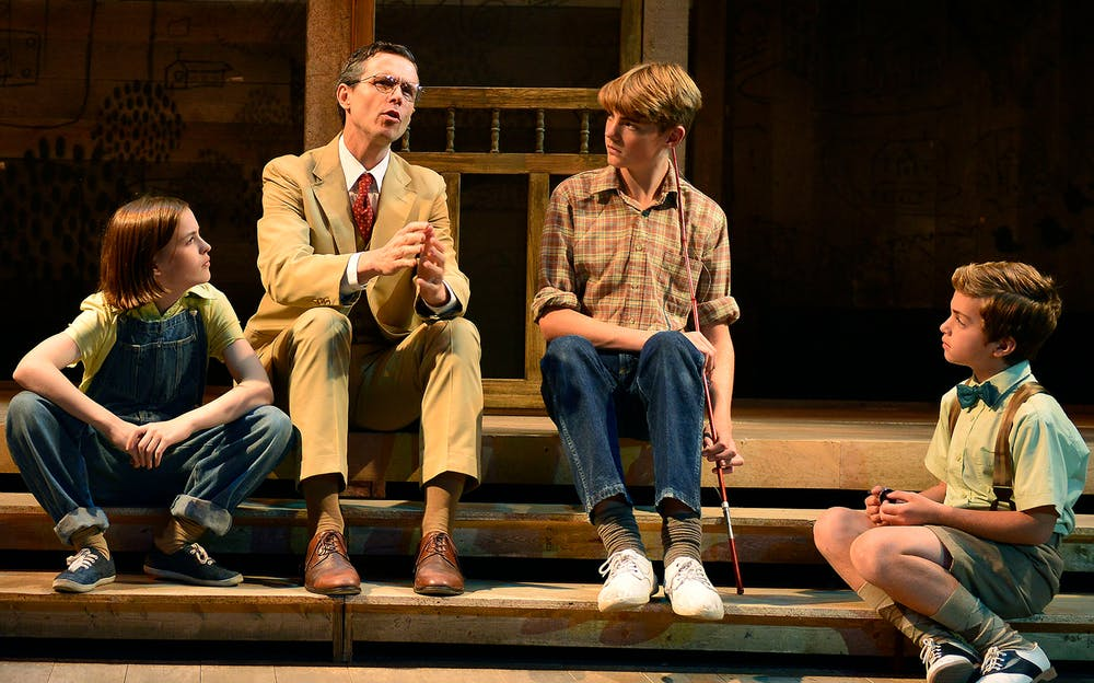 To Kill a Mockingbird Broadway - Atticus Finch and the children on stage