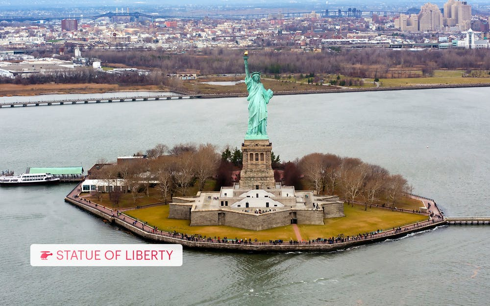 New York Helicopter Ride - The Statue of Liberty as seen from the sky